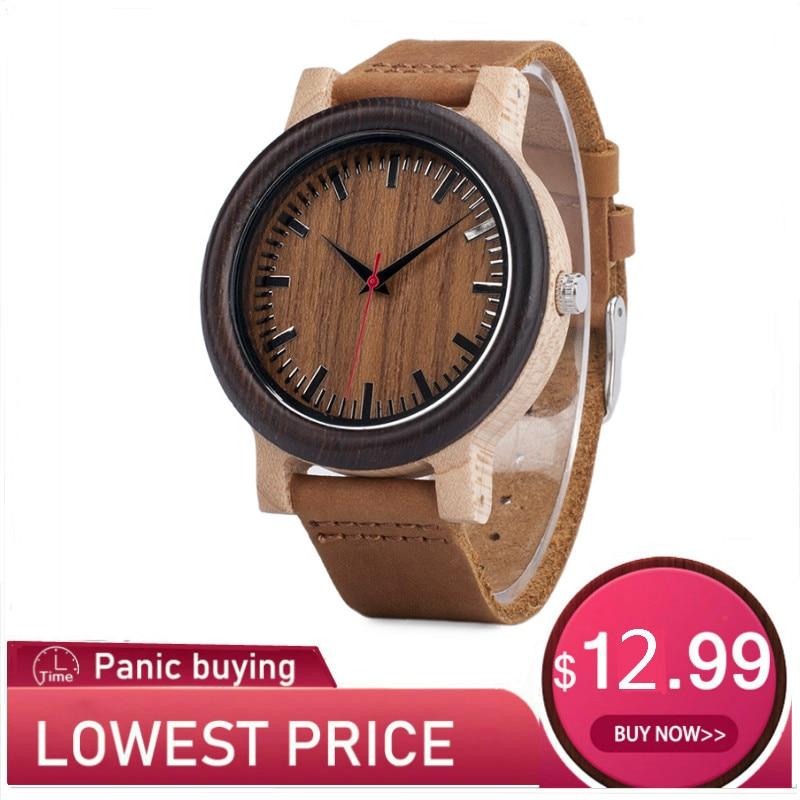 BOBO BIRD Wood Watch Relogio Masculino Men Fashion Quartz Clock Wood Watches Leather Strap Quartz Wristwatches In Sales Deal