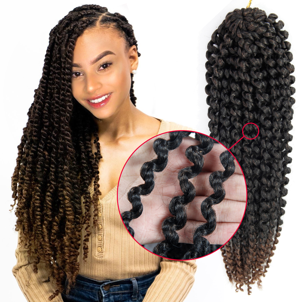 YxCheris 18inch Passion Twist Hair Ombre Blonde Water Wave Bohemian Braid Crochet Hair Braiding Synthetic Hair Extension
