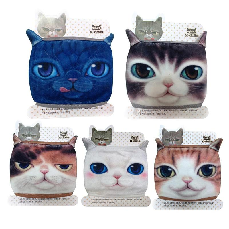 1pc Cotton Fabric Anti Dust Pollution Masks Unisex Cute Cat Mouth Mask Cotton Fabric Anti Haze Flu Cotton Face Cover For Adult