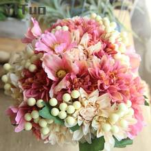 YiTuo Dahlia Berry Bunch Decoration Wedding Bouquets Road Leading Wall Artificial Flowers DY1-1890