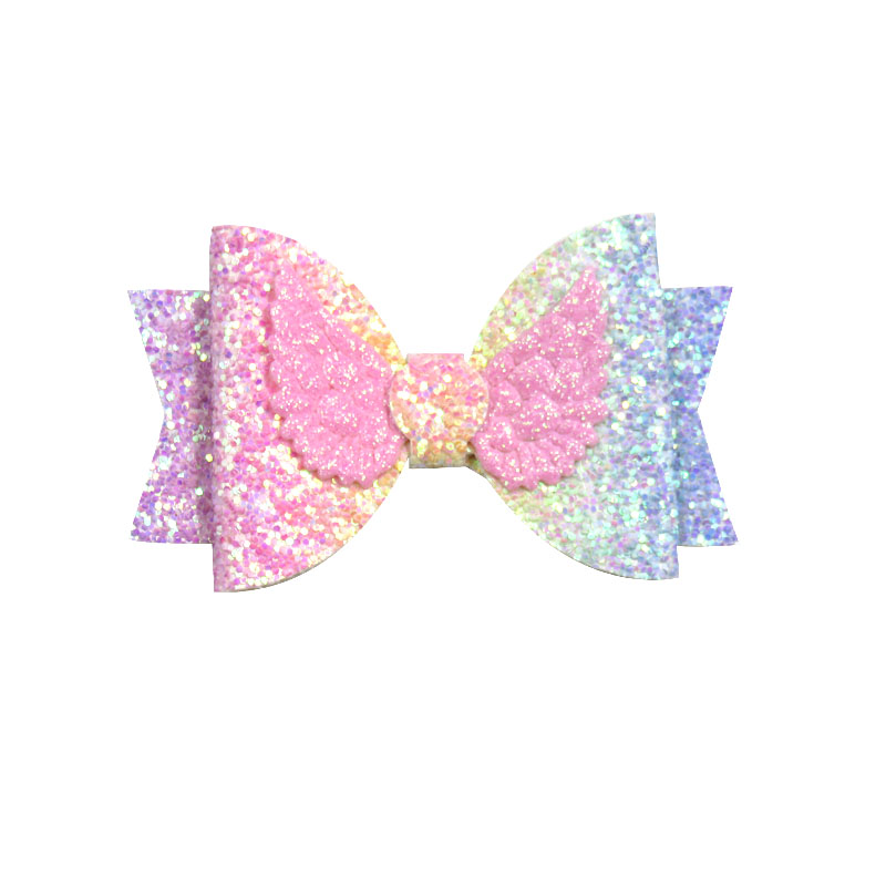 1PCS  Lovely Wings Sequin Elastic Hair Bands Girls Ribbon Clip Bows Girl Hair Tie Knot Hairpin Handmade Fashion Hair Accessories