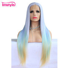 Imstyle Straight Long Synthetic Lace Front Wig Ombre Blue Purple Yelllow Wigs For Women Mixed Color Heat Resistant Fiber Hair(China)