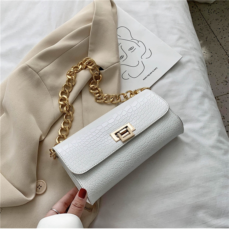 Crocodile Pattern Vintage Soild Color Small Square Bag For Women 2020 summer Handbag And Small Chain Bags Fashion Armpit Bag (19)