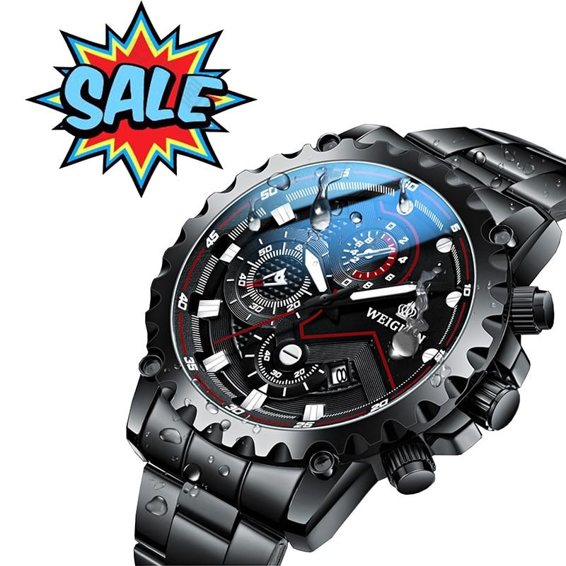 Часы наручные мужские кварцевые с календарем, люксовые брендовые модные водонепроницаемые с браслетом из нержавеющей стали