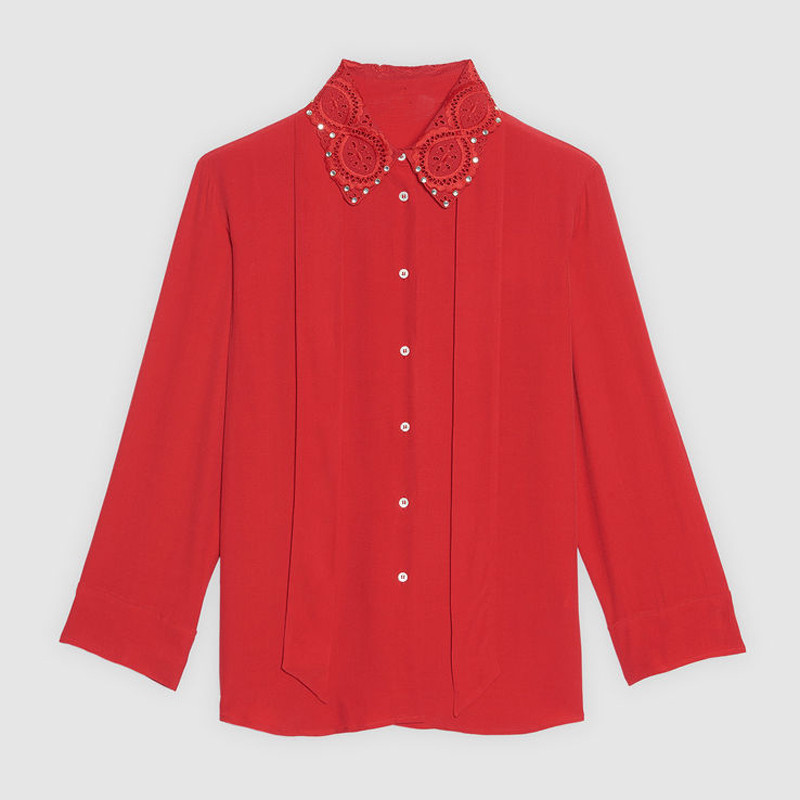 Women Red Shirt Long Sleeve Turn-down Ribbon Tie Bow Collar Spring Autumn Winter Office Lady Blouse Top 2020 New Casual  Cloth