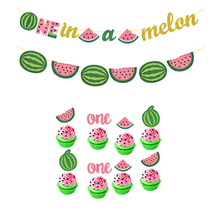 Summer Fruit Theme Watermelon Party One In Melon Banner Baby Year Birthday Latex Ballons Cake Topper Babyshower