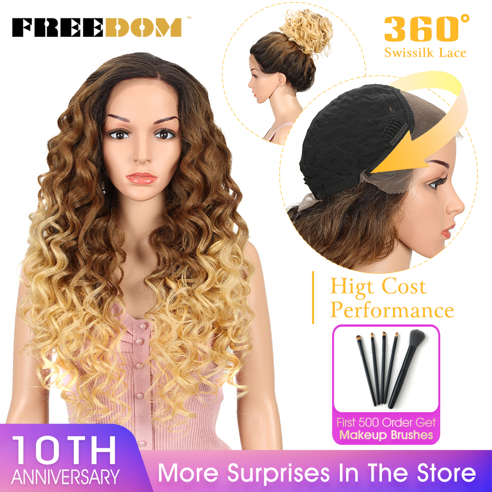 FREEDOM Synthetic 360 Lace Frontal Wig 26Inch Easy 360 Lace Wig High Cost Performance Ponytail Blonde Wig Heat Resistant Natural