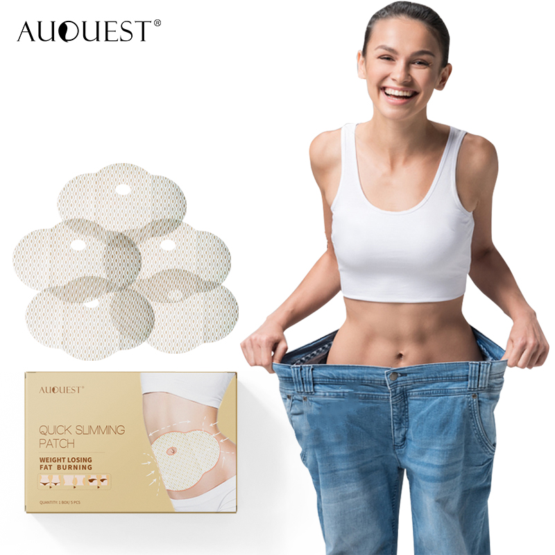 AuQuest Healthy Fat Burnner 5pcs Belly Slimming Patch Lazy Diet Product Abdomen Navel Big Legs Loss Weight Paste Body Care