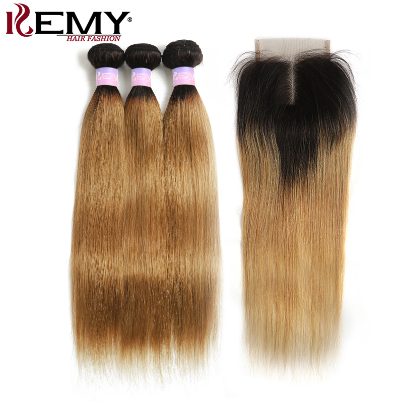 Brazilian Straight Human Hair Bundles With Closure T1B/27 Two Tone Ombre Weave Bundles With Closure Non-Remy Extension KEMY