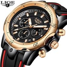 2019 New Silicone Strap Men Watches LIGE Top Brand luxury Business Luminous Quartz Watch Creative Dial Waterproof Date Clock
