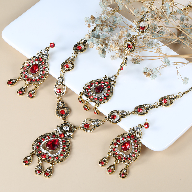 From India Vintage Look Jewelry Sets Pendants Necklace Earring For Women Gold-Color Mosaic Blue Crystal Party Gifts
