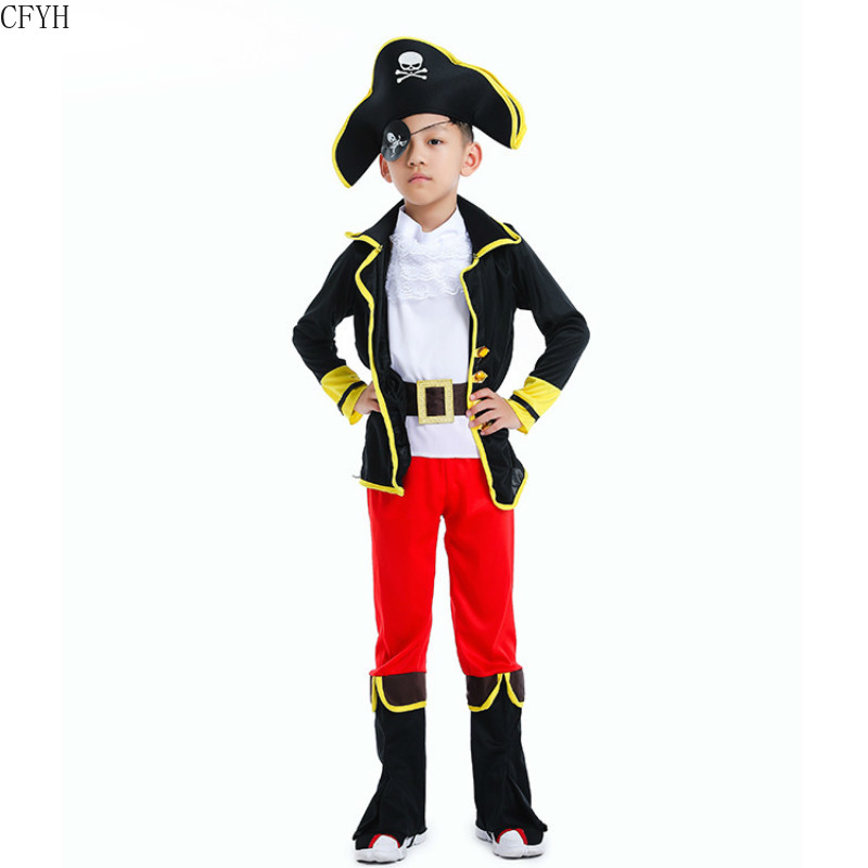 New Children Halloween Corsair Costume Fantasia Boys Pirate Cosplay Kids Robber Bandit Role Play Carnival Purim Masquerade Dress