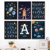Planeten Rakete Raumschiff Anzahl Brief Kindergarten Wand Kunst Leinwand Malerei Nordic Poster Und Drucke Wand Bilder Kids Room Decor