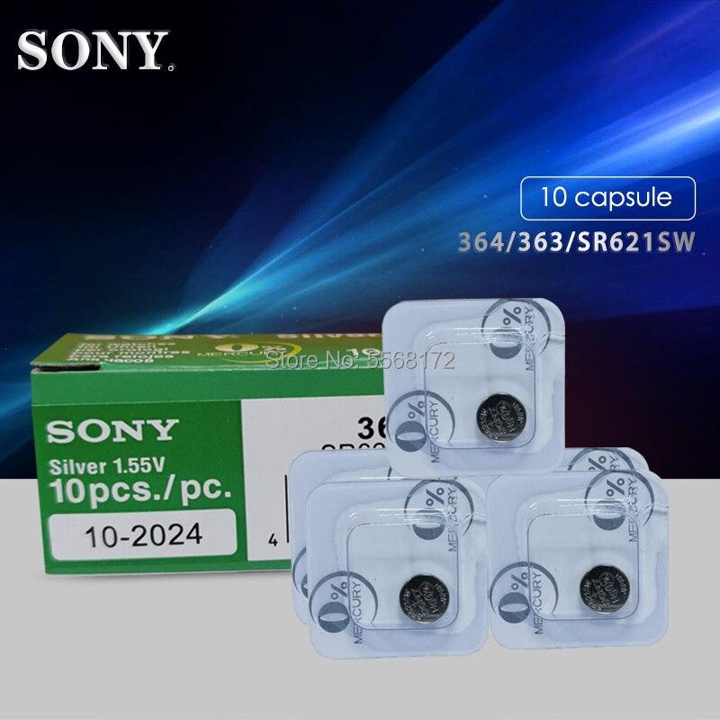 10pcs For Sony Original 1.55V 364 SR621SW V364 SR60 SR621 AG1 Single Grain Packing Watch Battery Button Coin Cell