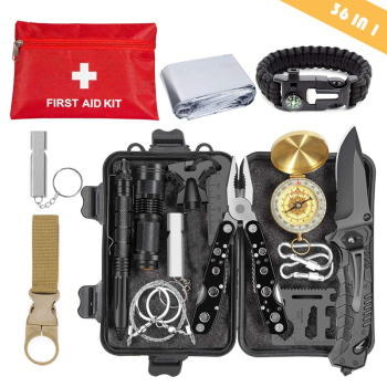 Emergency Survival Kit 36 in 1 SOS,EDC Blanket Knife Flashlight Pliers Wire Saw for Wilderness Camping First Aid for Earthquake 1