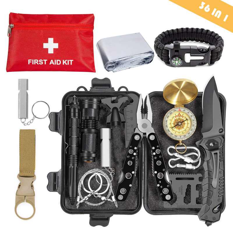 Emergency Survival Kit 36 In 1 SOS,EDC Blanket Knife Flashlight Pliers Wire Saw For Wilderness Camping First Aid For Earthquake