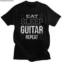"Humor """" eat sleep гитары Повторите футболка Для мужчин"