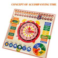Calendar-Clock Puzzle Wooden Early-Childhood Education Children's English Hanging-Board