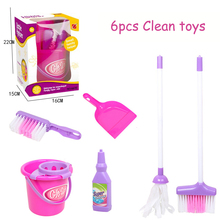 6pcs Children Pretend Play Toy Simulation House Cleaning Broom Mop Brush Set Educational Toys Play House Game Gift for Baby