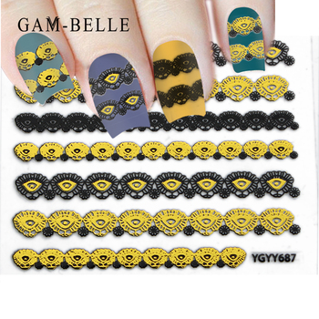 GAM-BELLE Thin Gummed Black And Gold Nail Art Supplies Symbolic Sexy Lace Flower Nail Sticker Nails Accessories image