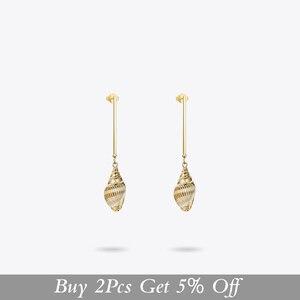 Image 2 - Enfashion 빈티지 자연 조가비 귀걸이 골드 컬러 Boho Earings 여성 패션 쥬얼리 Boucle d oreille Femme 2020 EM191011