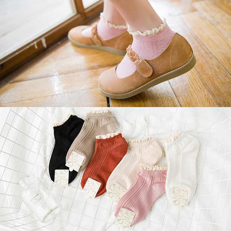 Fashion Cute Soft Lace Cotton Women Socks Lolita Princess Solid Color Ankle Socks Spring Summer Autumn High Quality Short Socks