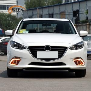 Image 5 - OKEEN 2 adet araba LED gündüz farı Mazda 3 Mazda3 Axela 2013 2014 2015 2016 günışığı sis lambası dönüş sinyal ışıkları