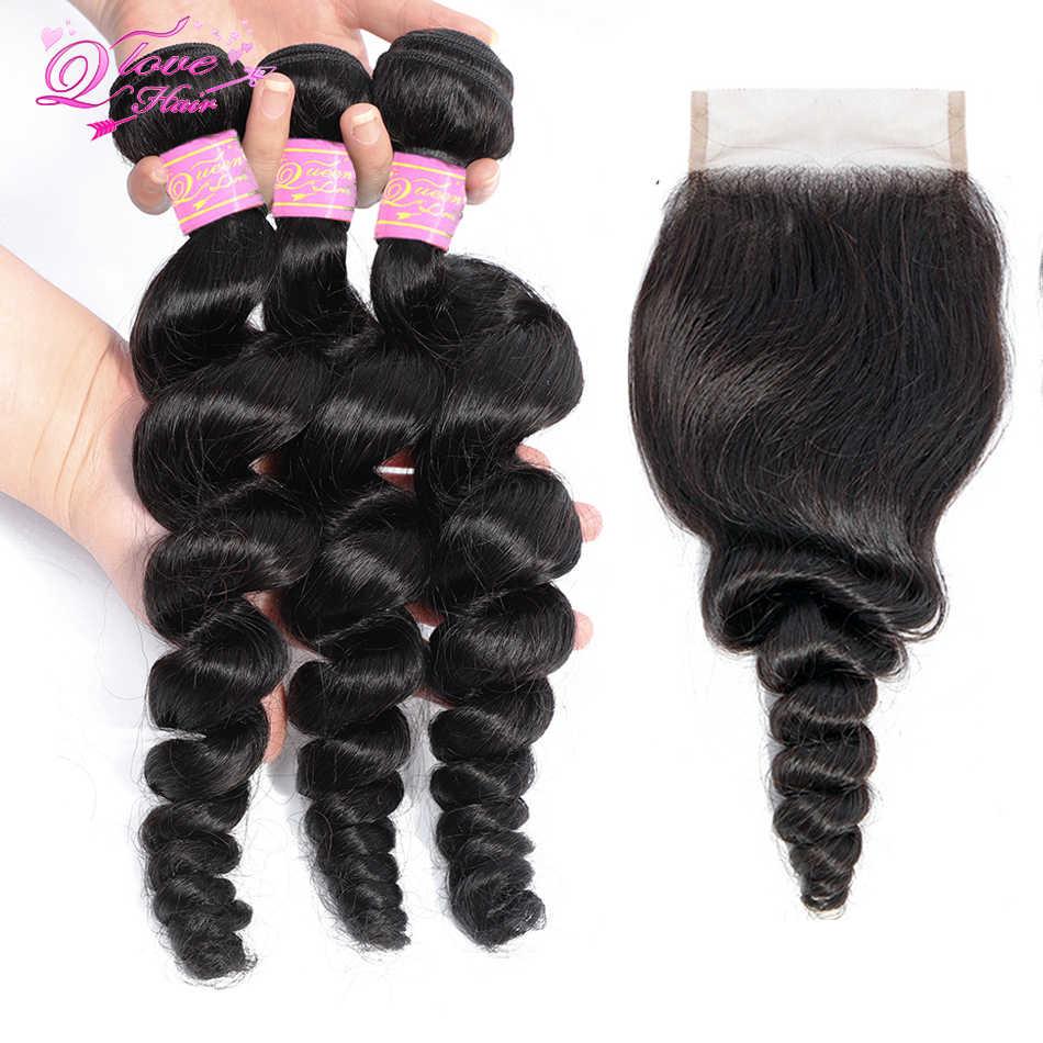 Queen и повязка на голову, свободные волнистые в наборе с Закрытие естественного Цвет малайзийские волосы 4 штуки в партии Волосы remy 3 Связки с закрытием