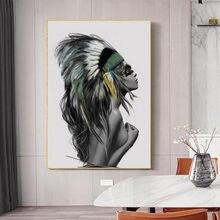 Скандинавский индийский макияж девушка перо холст печать красота
