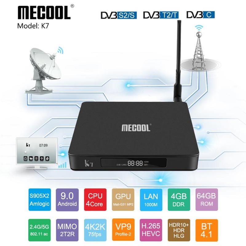 MECOOL K7SmartTV Box Android 9.0 4K 4+64G Quad Core BT 4.1 WIFI Top Box