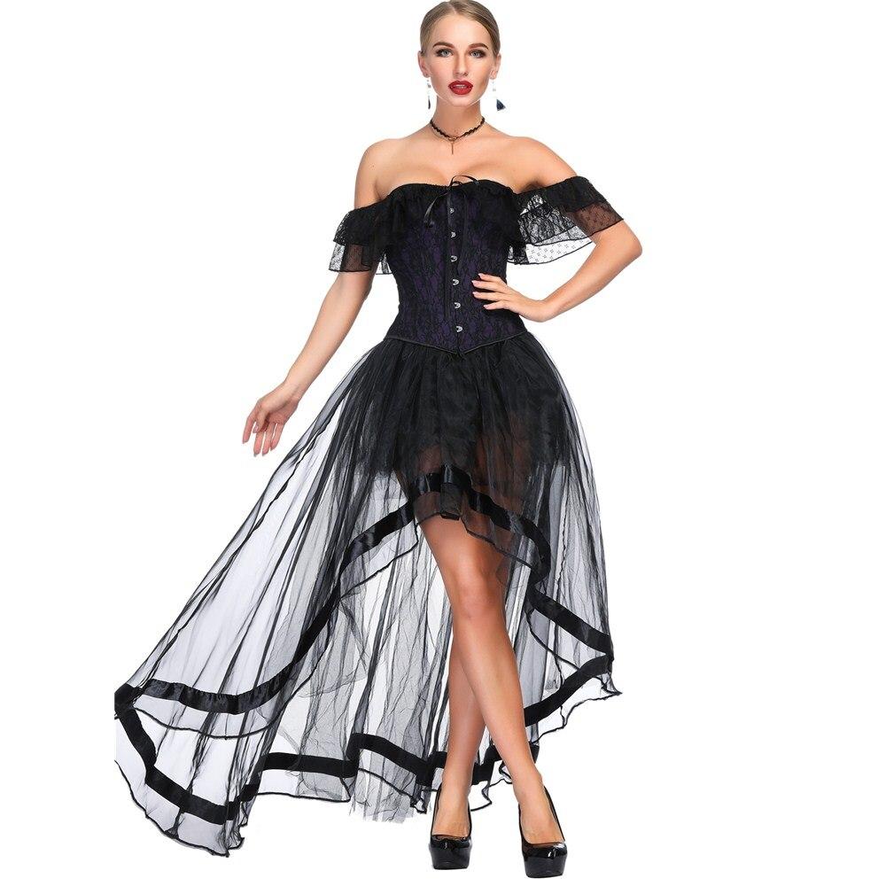 Image 5 - Off Shoulder Corset Set Steampunk Costume Victorian Overbust gathered chest sexy waist trainer steampunk gothic lingerie bustier-in Bustiers & Corsets from Underwear & Sleepwears
