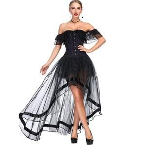 Image 4 - מכתף מחוך סט Steampunk תלבושות ויקטוריאני Overbust אסף חזה סקסי מותניים מאמן steampunk גותי הלבשה תחתונה bustier