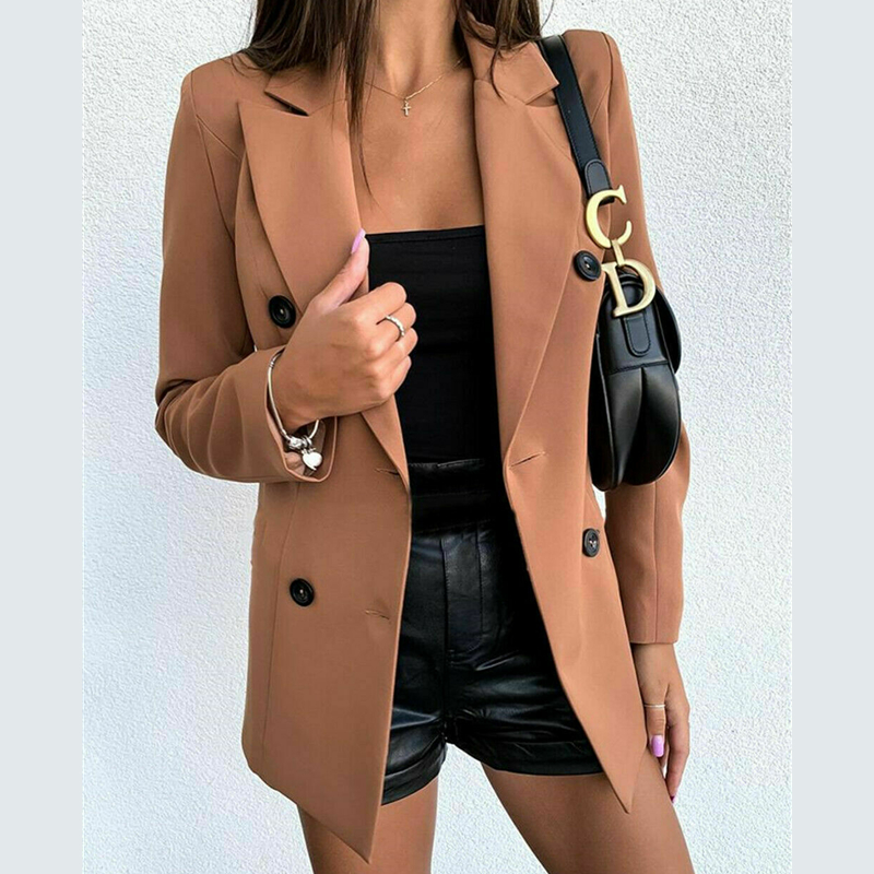 Women Slim Casual Blazer Jacket Top Outwear Long Sleeve Career Formal Tunic Coat Jacket Suits Lady OL Outers Autumn Spring 2020