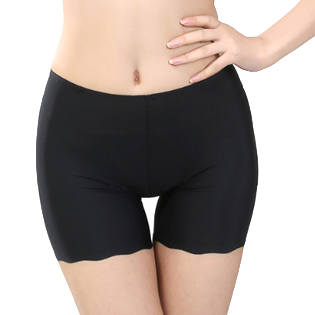 Hot Selling Female Sexy Women High Waist Ice Silk Briefs Seamless Elastic Pants Short Leggings White/ Black/ Skin