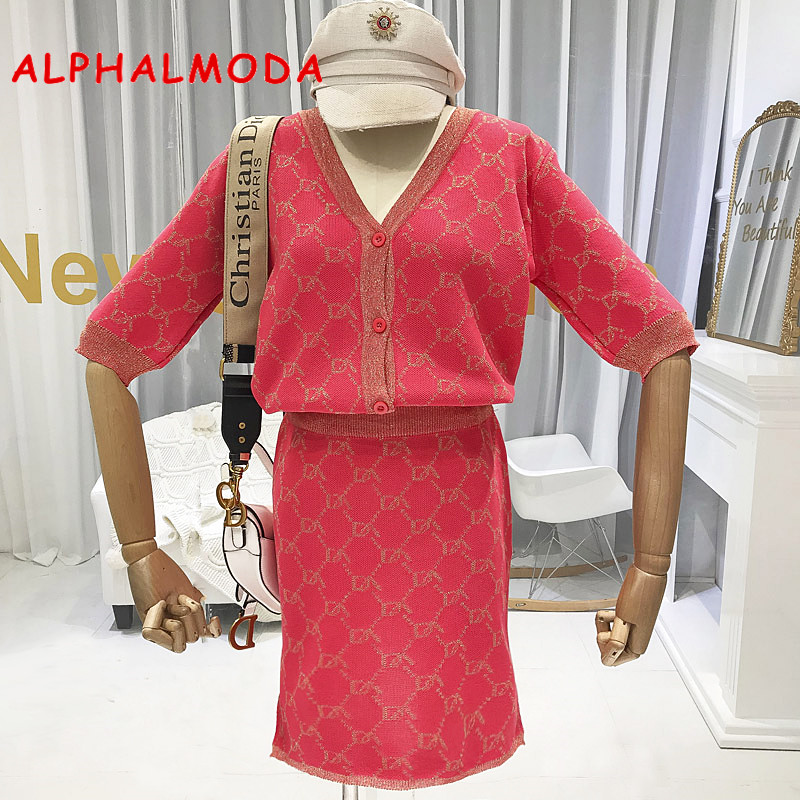 ALPHALMODA Autumn New Arrival Knitting Cardigans + Straight Skirt 2pcs Set OL Half-sleeved Fashion Pattern Knitting 2pcs Suits