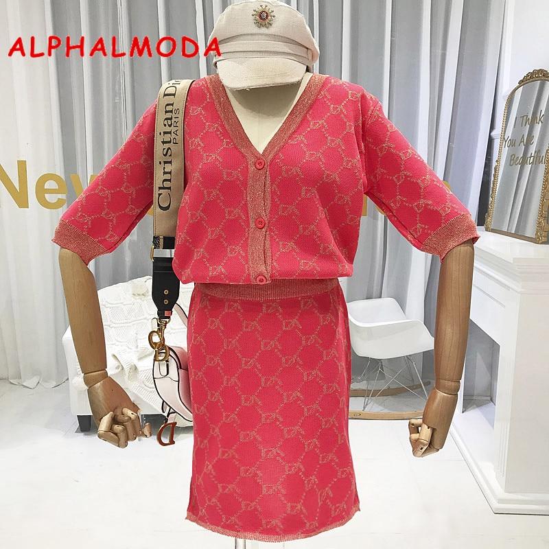ALPHALMODA Autumn New Arrival Knitting Cardigans + Straight Skirt 2pcs Set OL Half-sleeved Fashion Pattern Knitting 2pcs Suits