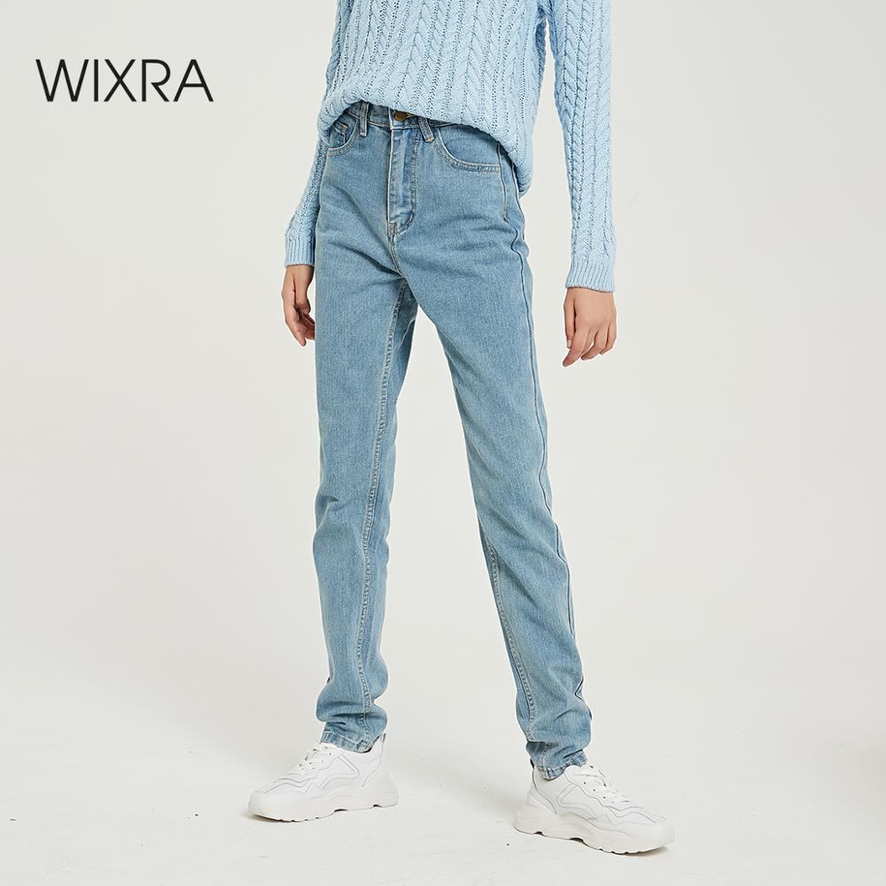 Wixra Basic Jeans Soft Pants Harem Jeans Female Straight All Match Basic High Waist Jeans Femme Long Denim Pants For Women