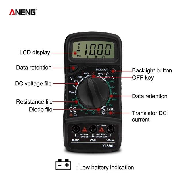 ANENG XL830L Digital Multimeter Esr Meter Testers Automotive Electrical Dmm Transistor Peak Tester Meter Capacitance Meter 4