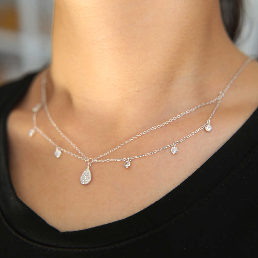 100% 925 Sterling Silver multi Layers cz station choker Necklace water drop charm double link chain fashion jewelry for women