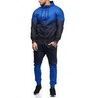 ZOGAA Mens Sets Fashion 3D Print Pleated Sportswear Tracksuits Sets Men's Hoodies+Pants 2 Pieces Sets Autumn Casual Outwear Suit
