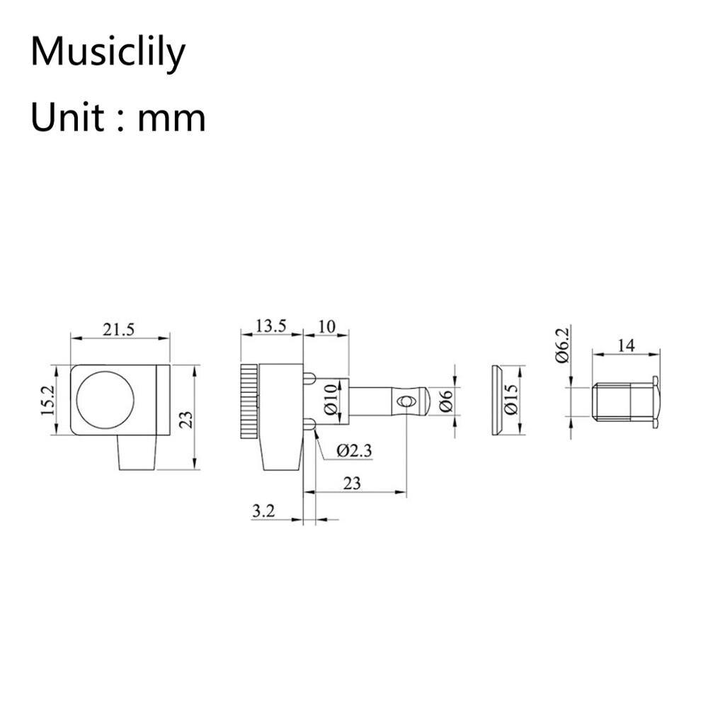 Musiclily Pro 6-in-line 2-pins plein métal guitare accordeurs de verrouillage têtes de Machine Tuning chevilles jeu de clés pour Fender Strat/Tele, noir - 2