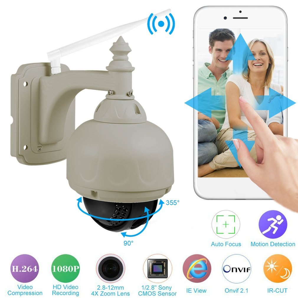 LESHP 1.3MP IP Zoom PTZ CCTV Camera Auto-focus Wireless WiFi Mini Speed Dome Night Vision Outdoor Waterproof Security Camera