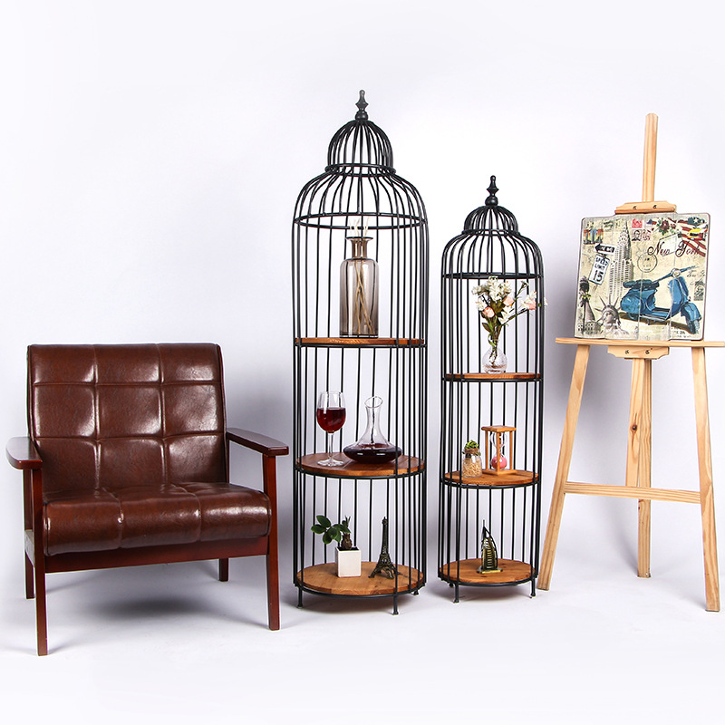 Antique Iron Bird Cage Metal Plant Shelves Garden Stand Iron Plant Stand  Metal Floor Shelf Vintage Home Decor Home Storage