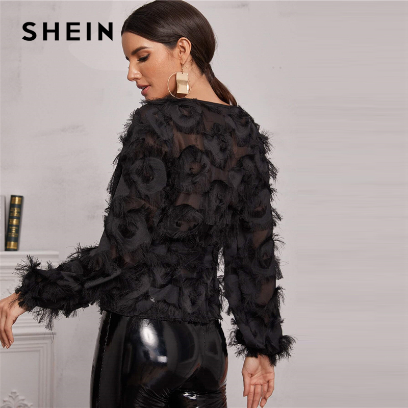 SHEIN Black Round Neck Sheer Elegant Blouse With Belt Women Spring Long Sleeve High Street Ladies Glamorous Blouses And Tops 2