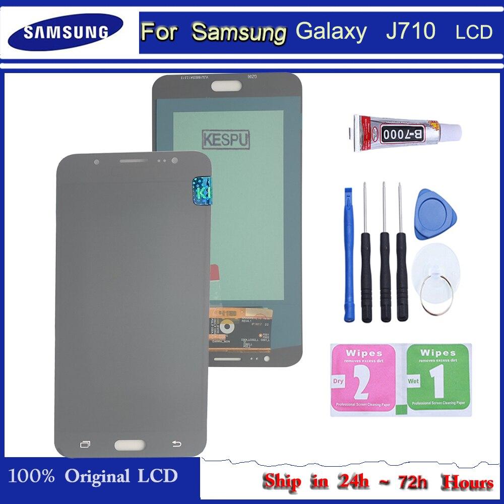 100% testado super amoled para samsung j7 2016 j710 lcd para samsung j710f j710 display lcd tela de toque digitador assembléia