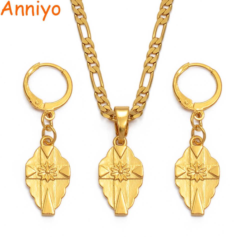 Anniyo SMALL Cross Pendant Necklaces Earrings Sets Women Girsl Gold Color Micronesia Guam Hawaiian Jewelry Chuuk Crosses #216106