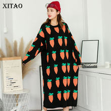 XITAO Knitted Dress Fashion New Women Pullover Full Sleeve 2020 Autumn Pattern Plus Size Long Minority Loose Dress DMY2344(China)