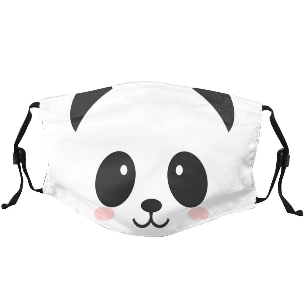 Милая детская маска с принтом панды моющаяся тушь для лица уличная Пылезащитная детская маска для лица регулируемая эластичная дышащая тка...