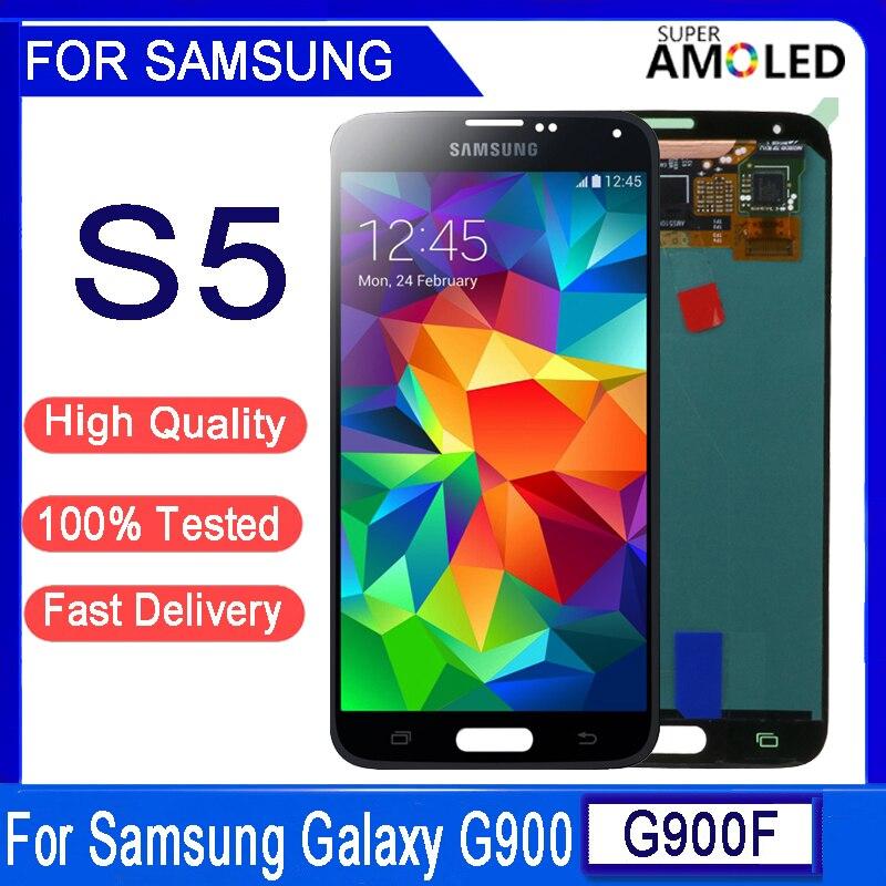ЖК-дисплей 5,1 ''AMOLED для samsung Galaxy S5 G900 G900F G900H G900M, сенсорный экран с дигитайзером в сборе, замена, оригинал