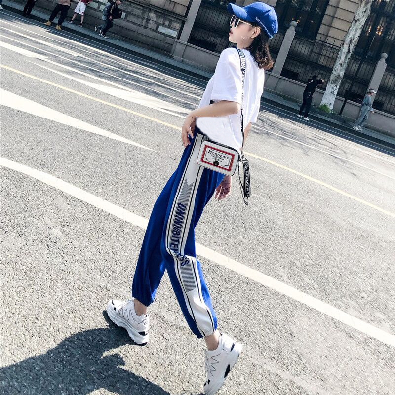 Hip Hop Sports Casual WOMEN'S Suit Summer Smell GIRL'S 2019 New Style Online Celebrity Loose-Fit Fashion Handsome Two-Piece Set